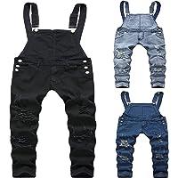 LUCKME Men's Dungarees Denim Suspenders Ripped Jeans Pants Slim-fit Denim Camouflage Bib Overalls Trousers Distressed…