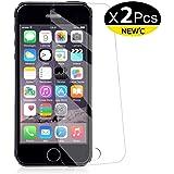 NEW'C PanzerglasFolie Schutzfolie für iPhone 5s, 5, SE, 5C, [2 Stück] Frei von Kratzern Fingabdrücken und Öl, HD…