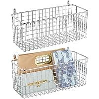 mDesign étagère murale métallique (lot de 2) – panier de rangement moyen pour couloir, chambre, etc. – organiseur de…