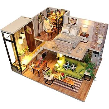 Per DIY Maison de Poupées Miniature avec Accessoires Dollhouse Kit 3D Maison  de Poupée Bricolage à Construire Jouet Décoration Lumière 11fb5b88e953