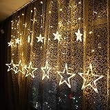 Lovelyhome Curtain String Lights, 2.5m 12 Stars 138 LED Window Curtain Lights Star Lights with 8 Flashing Modes Diwali Decora