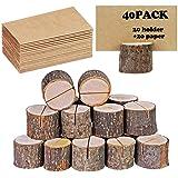 40 pezzi Inserire la carta I titolari, Rustico vero legno Con la corteccia di legno Titolare della carta da tavolo, Numero Ph
