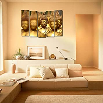 999Store Multiple Frames Printed Wooden Golden Buddha Wall Art Panels For  Living Room Painting   5 Frames (130 X76 Cms): Amazon.in: Home U0026 Kitchen