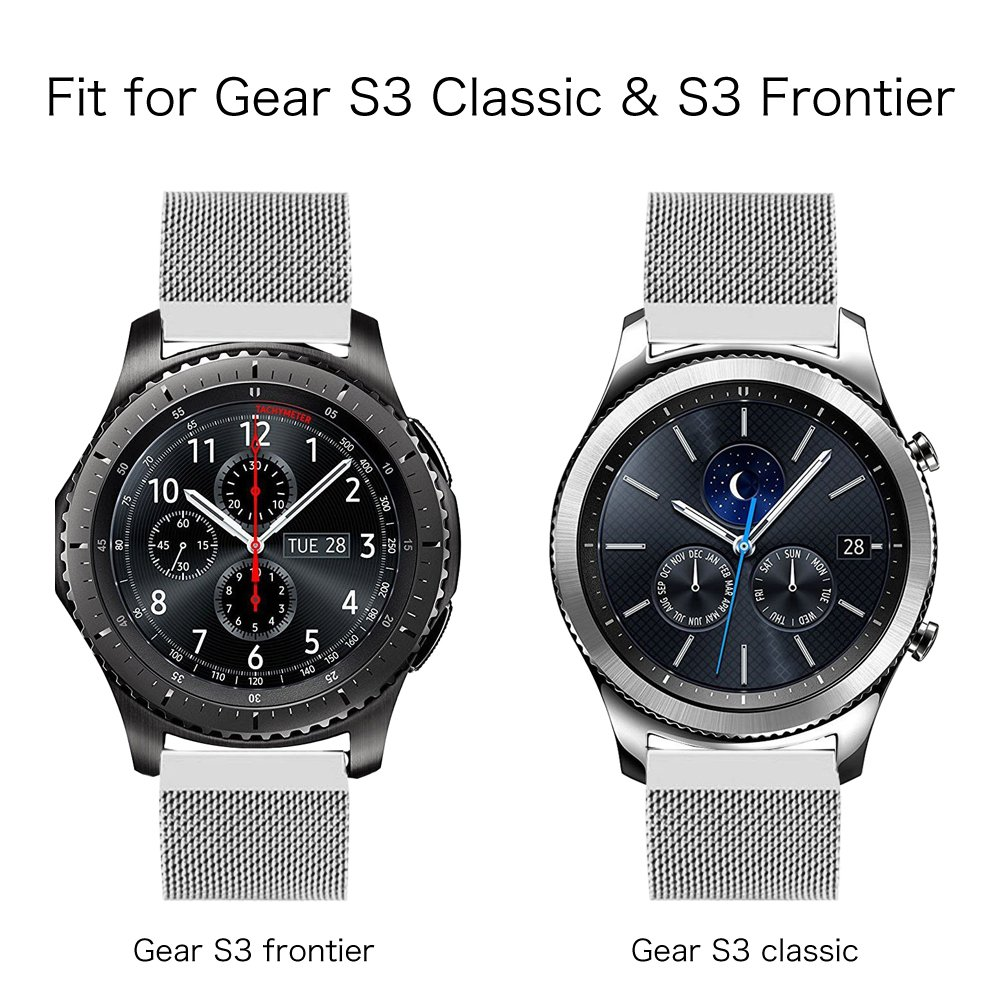 fintie samsung gear s3 frontier classic edelstahl milanese. Black Bedroom Furniture Sets. Home Design Ideas