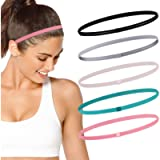 Running Headband Sweat Bands Head Band for Women and Men Non-Slip Elastic Sports Headbands (Black, Gray, White, Green…
