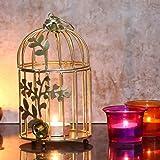 Webelkart Gold Colour Metal Iron Bird Cage Tea Light Holder with Flower Vine