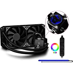 Deepcool Captain 240 EX RGB Sistema di Raffreddamento a Liquido AIO Per Processore AMD Intel CPU Support AM4 2 Ventole da 120 mm PWM con Pompa RGB e Striscia LED RGB, captain 240ex nero rgb
