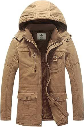 WenVen Men's WinterOutdoorJacket WarmFleeceLiningCoat HoodedWindproofJacket Mid-Length Casual Outerwear Coats