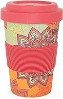 """YogiCup2Go, Bambus Coffee-to-go-Becher mit Print""""Sunflower"""", rot-orange, Bamboo-Cup als Mehrweg-Tasse für unterwegs, mit..."""