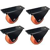 Impoda 4 x Small Fix Wheel Castor / 80kg Load Capicity (Black-Orange)