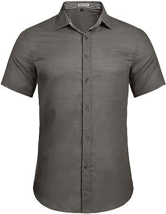 Sykooria Shirt Mens Button Down Dress Shirt Short Sleeve Summer Casual Formal Plain Cotton Shirt Regular Fit Tops Work Shirts Men
