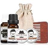 Beard Grooming Kit for Men, Beard Care Kit, Trimming Set Include Mustache Oil Beard Oil Balm Bath Cream Comb Moisturizing Travel Bag, Ideal Gift for Dad Him Husband Boyfriend