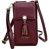 Pearl Angeli Damen Handy Umhängetasche, Handytasche zum Umhängen Geldbörse, 11 Kartenfächer Brieftasche Schultergurt, PU Lede