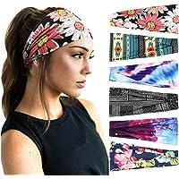 DRESHOW 6 Pack Women's Yoga Running Headbands Sports Workout Hair Bands Cute Hair Accessorie