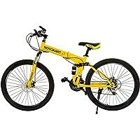 Novokart Vélo Pliable pour Adulte Unisexe Jaune 21 Vitesses