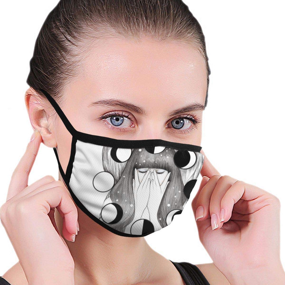 Bdwuhs Mascarillas Bucales Moon Spells Anti Pollution Dust Mask Washable and Reusable Polyester Face Mouth Mask Protection from Flu Germ Pollen Allergy Respirator Mask