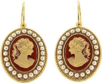 Orecchini Pendenti Vintage - in Ottone con Oro 24 KT - Fatto a Mano in Toscana, Made in Italy - Cammeo Centrale Rosa con piccole Perle Avorio