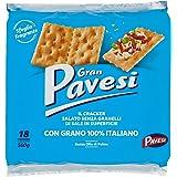 Gran Pavesi Cracker Salati Senza Granelli di Sale in Superficie, Senza Olio di Palma, 18 Pacchetti, 560 g