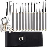 Roestvrijstalen slotenset voor beginners, 15-delige lockpick-tool in een zwarte ritszak met transparant oefenhangslot, 2 sleu