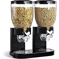 BAKAJI - Distributeur de céréales/pâtes/Caramel/Dolci/Frutta - Seau à roulettes - Double récipient - 8 l - Noir
