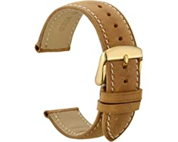 WOCCI 14mm 16mm 18mm 19mm 20mm 21mm 22mm 23mm 24mm Bracelet de Montre en Cuir avec Boucle en Acier Inoxydable Dorée