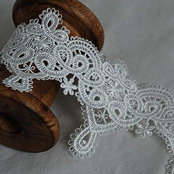 Ivory White Floral Bridal Trimming Guipure Lace Trim CL12 9.5cm Wide