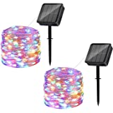 Solar String Lights Outdoor, 2 Pack 120LED Solar Powered Fairy Lights Waterproof 12M/40Ft 8 Modes Indoor/Outdoor Starry Light