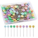 LUTER 200 Piezas Alfileres Planos De Cabeza De Flor Con Una Caja De Almacenamiento Colores Surtidos Alfileres Decorativos Par