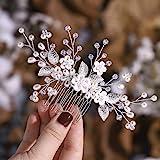 Simsly Blumenhaarschmuck, Hochzeits-Haarkamm, silber- oder rotgoldfarben, Haaraccessoire, mit Perlen, Brautschmuck, für Damen