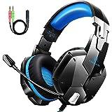 Auriculares Gaming PS4, Cascos Gaming con Micrófono, 3D Sonido y Reducción de Ruido, Jack 3,5mm, Control de Radio, PC/Mac/Xbo