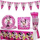 Minnie Decoraciones de Fiesta de cumpleaños, 42 Pcs Juego de Cubiertos de Minnie, Cumpleaños Vajilla Set de Fiesta Kids Birth
