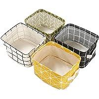 Boîte de Rangement Pliable Lin Tissu Bureau Rangé Stockage, Lot de 4 paniers de Rangement carrés Pliables pour étagères…