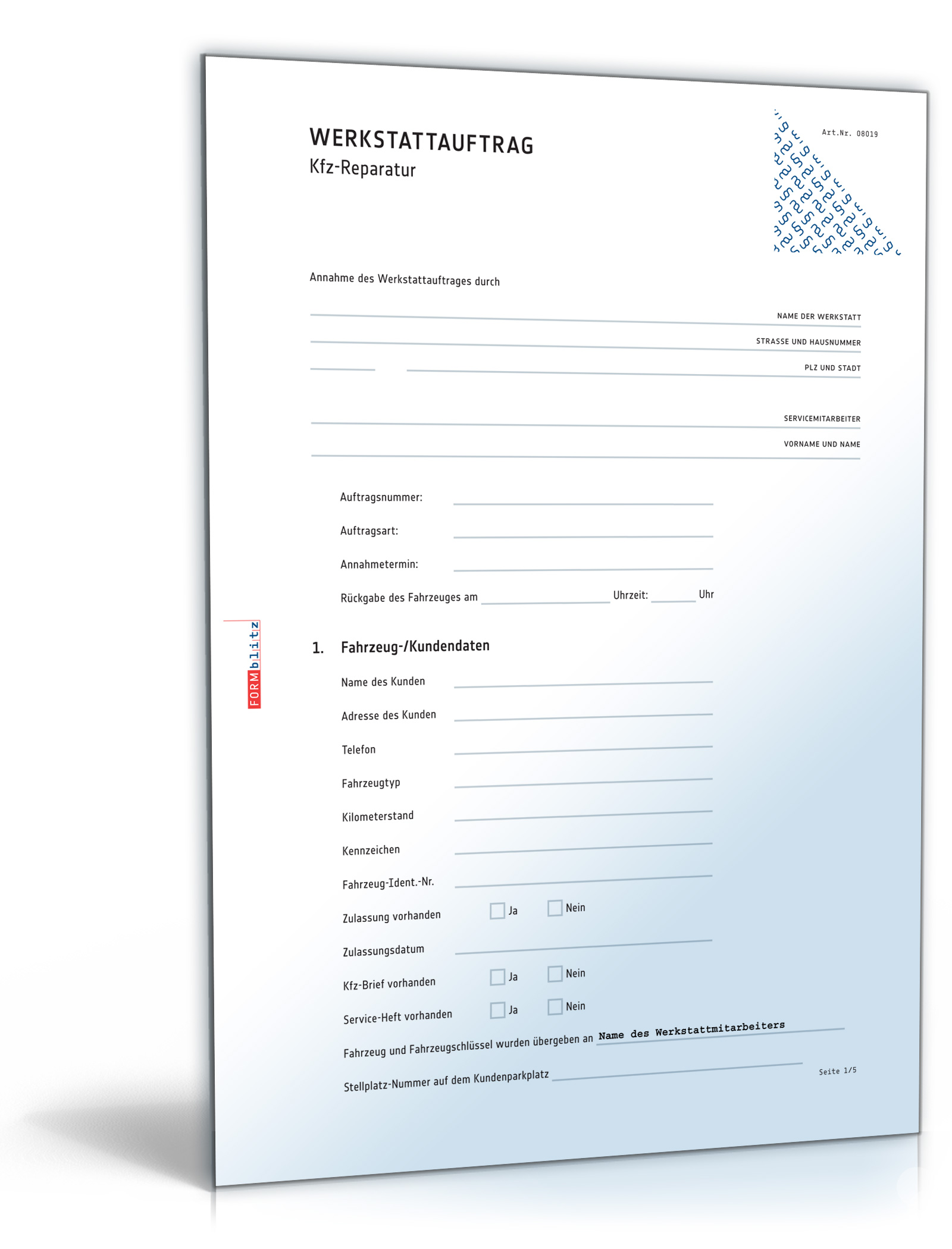 Werkstattauftrag Kfz-Reparatur [Download]