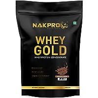 NAKPRO GOLD 100% Whey Protein Concentrate 1 kg Chocolate, 25g Protein, 5.5g BCAA & 4.2g Glutamine, Whey Protein…