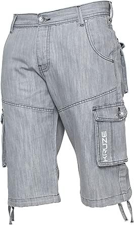 Ze ENZO Mens Casual Work Cargo Combat Shorts Heavy Duty Denim Half Pants All Waists