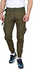 Krystle Men's Cotton Solid Olive Green Relaxed Fit Zipper DORI Cargo Jogger Pants