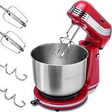 costway Robot da cucina, Macchina Impastatrice, mixer, sbattitore fruste e gancio per impastare, 6velocità, 3,5 l