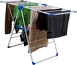 Easelife Clothing Stand for Drying Steel Body Clothes Drying Stand Foldable for Balcony 3 Layer Hanging Drying Stand for Clothes (Assorted Color)