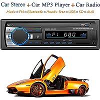 Honboom Autoradio Bluetooth, 4x60W FM Radio Voiture 1 Din, Récepteur Bluetooth Mains Libres Voiture Lecteur mp3 avec Intégré EQ, Soutient FM/MP3/WMA/USB/TF/AUX/ISO et Télécommande