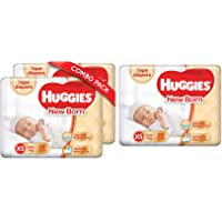 Huggies New Born Taped Diapers Combo Pack of 2, 22 Counts Per Pack (44 Counts) & New Born Taped Diapers (22 Counts)