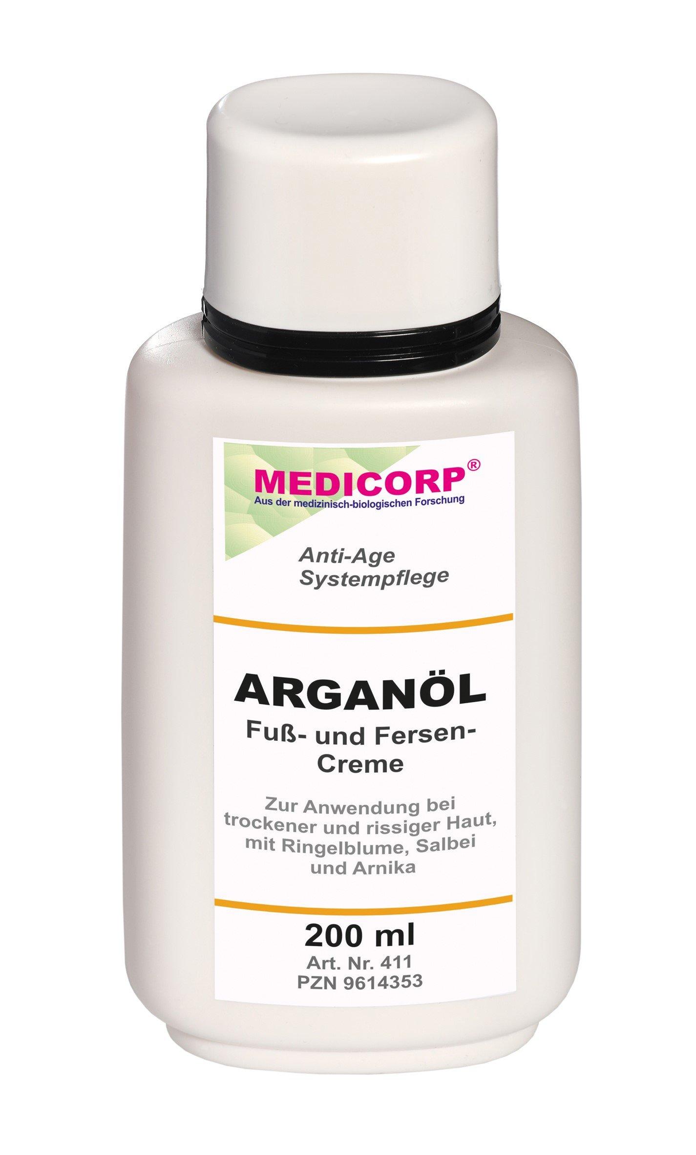 medicorp arganöl de pie y talón Crema, Nueva Fórmula sin parabeno, parrafine y Parfum, 200ml