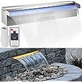 VEVOR Cascada de Agua de Acero Inoxidable45 x 11.4 x 7.8 CM Fuente de Cascada Cascada Agua Acero Inoxidable con LED Fuente R