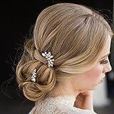 Aukmla, forcine da sposa e damigella,incristallo e perle color argento, fermaglio per capelli per donne e ragazze (confezio