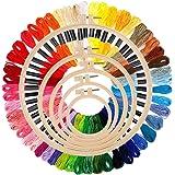 Epzia 5 st plast halkfri broderi ringuppsättning & broderi floss regnbåge färg 50 nyanser, 13 cm till 25,9 cm ring för broder