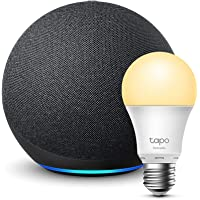 Echo (4th generation) | With premium sound | Charcoal + TP-Link Tapo Smart Bulb (E27), Works with Alexa