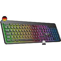 KLIM Light V2 Tastatur Kabellos QWERTZ + flach, ergonomisch, dezent, wasserresistent, leise + Beleuchtete Gaming…