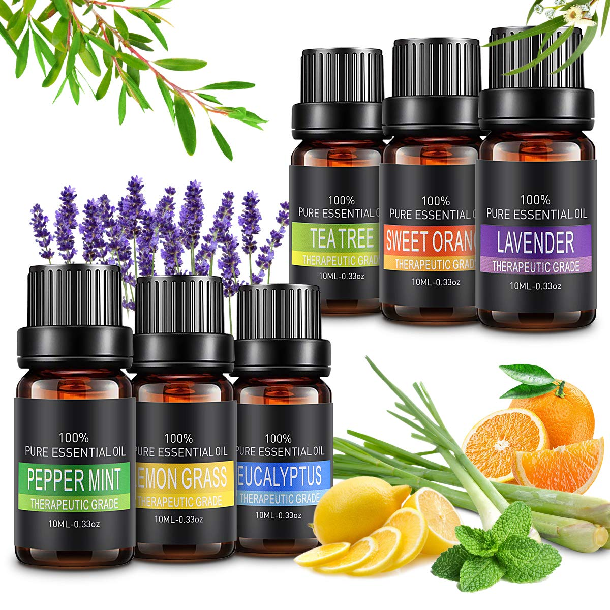 Aceites Esenciales, 6x10ml Aromaterapia Aceites Esenciales para Humidificador,100% Naturales (Naranja Dulce, Lavanda, Arból de Té, Menta, Limoncillo, Eucalipto) para SPA,Masajes