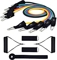 Ranpower Exercise Resistance Bands Set with 5 Fitness Workout Training Strength Tubes Ankle Straps Cushioned Handles Door Anchor for Men/Women