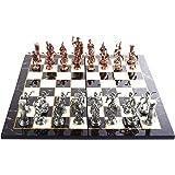 GiftHome Historiska antika koppar Rom figurer metall schackset för vuxna, handgjorda delar och marmordesign trä schackbräda k