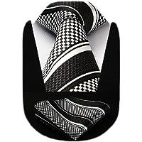 HISDERN Men's Dot Stripe Wedding Tie & Pocket Square Extra Long Necktie and Handkerchief Set for Men Classic Fashion…